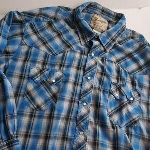 Wrangler Western Fashion Snap Shirt Blue Silver 3X